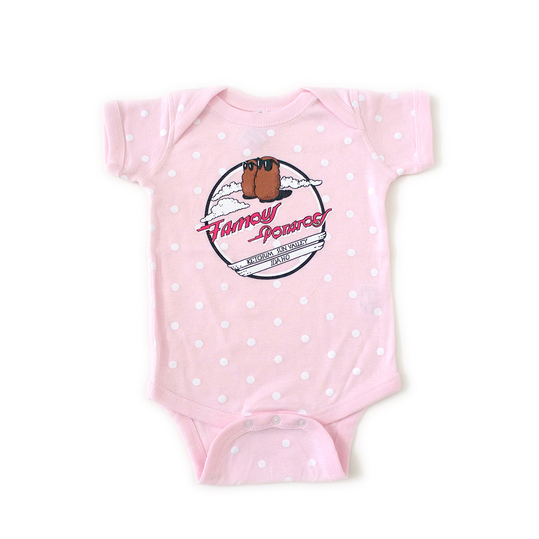 Famous Potatoes Infant - Onsie Pink/White Polka Dots