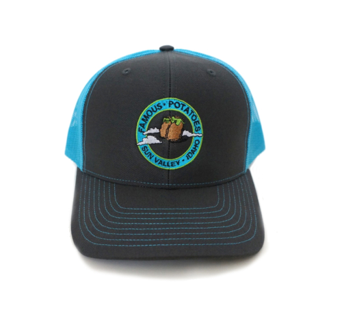Famous Potatoes – Snapback Trucker Hat – Charcoal/Neon Blue
