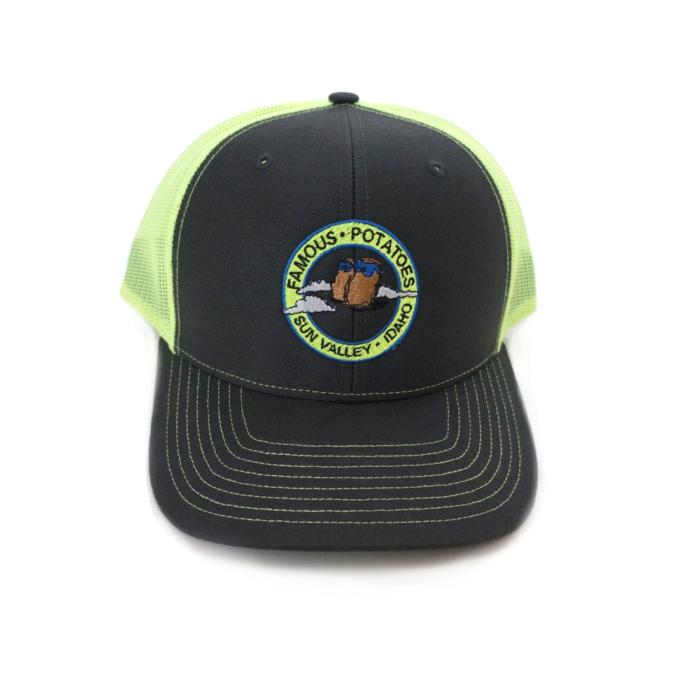 Famous Potatoes – Snapback Trucker Hat – Charcoal/Neon Green
