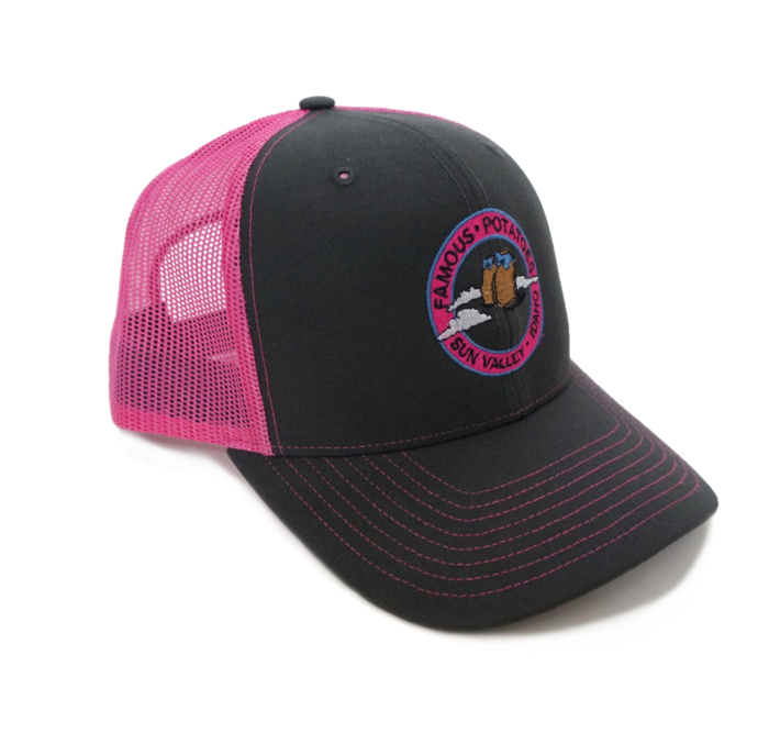 Famous Potatoes – Snapback Trucker Hat – Charcoal/Neon Pink