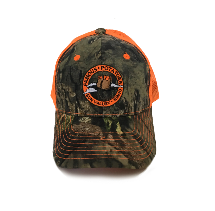 Famous Potatoes - Snapback Trucker Hat - Orange Camo