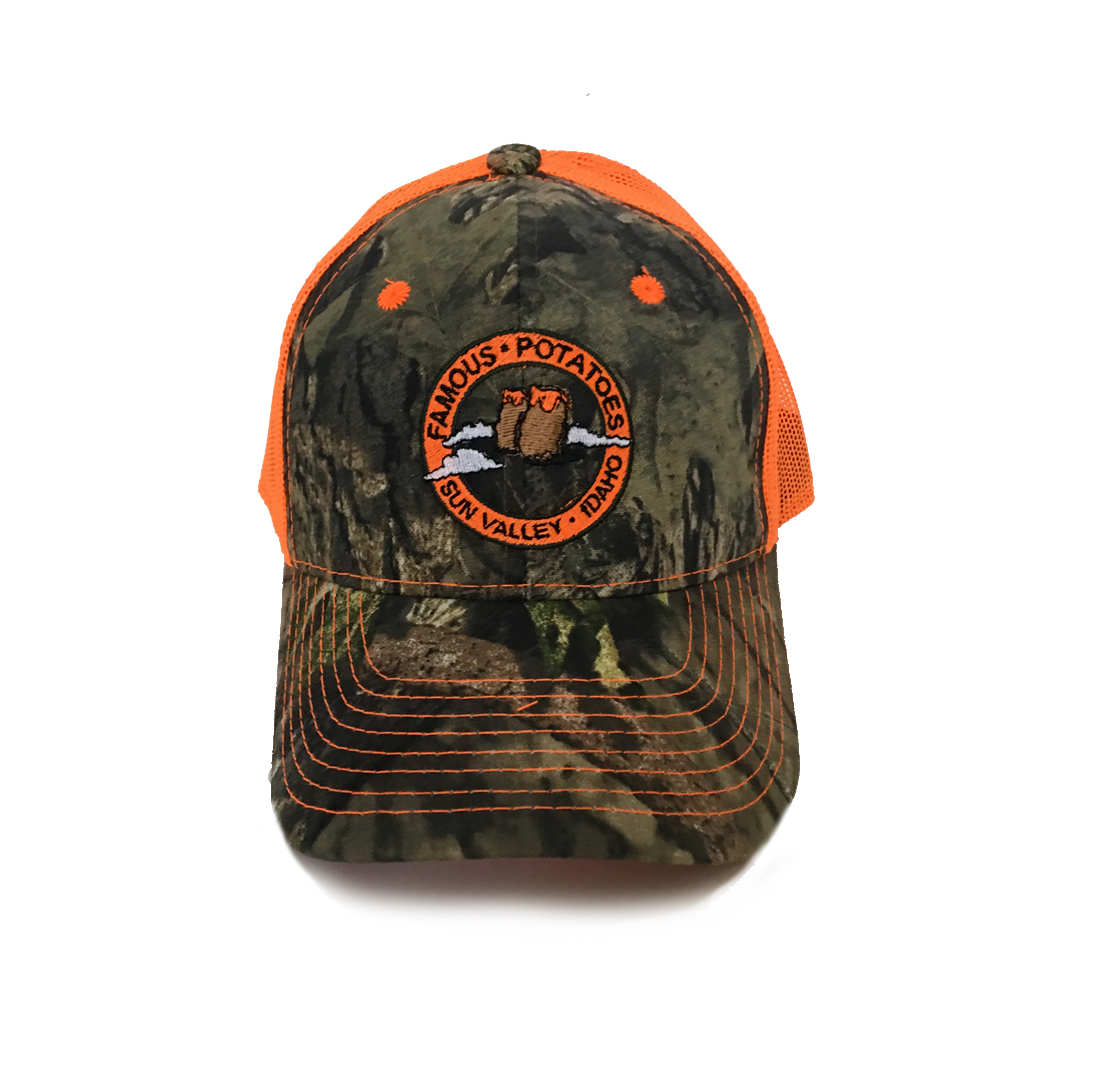Famous Potatoes – Snapback Trucker Hat – Orange Camo – Famous Potato ... 032a60eb053
