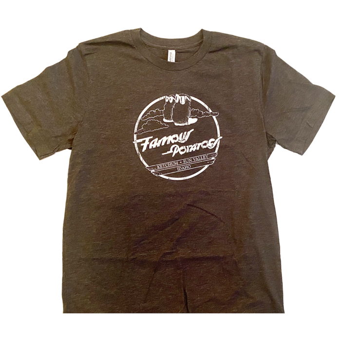 """Famous Potatoes - Dark Heather """"Classic"""" Design . Front Only Tee"""